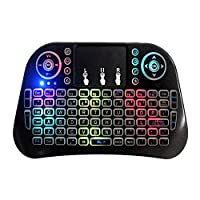 AOTUO I10 mini keyboard 2.4G touch wireless keyboard fly mouse Colorful lights With touchpad backlight
