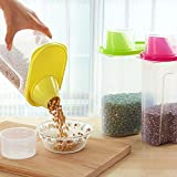 #10: ZZ ZONEX Cereal Dispenser Jar 1.8L Each (Set of 3) Ideal For Kitchen Storage Box Lid Food Rice Pasta Container Tub Dry Bin (Set of 3)(Multicolor)
