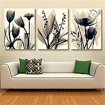 Flores Cuadro en Lienzo 40x60x2.5 cm - 3 partes - Impresion en calidad fotografica - Cuadro en lienzo tejido-no tejido