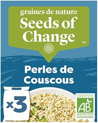 SEEDS OF CHANGE Couscous en Perle Certifié Bio Cuisson 8 Minutes 3 Sachets de 100 g