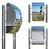 Edelstahl Standbriefkasten mit Fuß und Motiv: Leuchtturm
