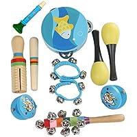 10Pcs Instruments de Musique pour Enfants Jouet de Percussion Ensemble de Clochettes et Tambour Maracas Couleur et motif aléatoire