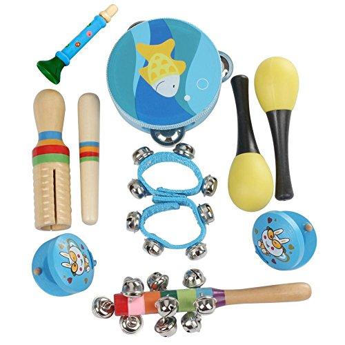 10 Stücke Kinder Musikinstrumente Schlagzeug Spielzeug Tamburin Und Drum Set Children tambourine set