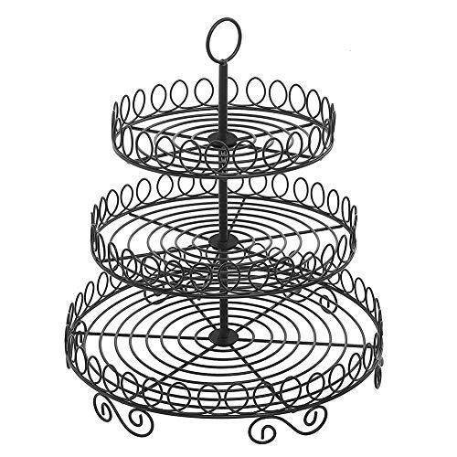 en Runde Kuchenständer Cupcake Halter Dessert Rack Party Servierplatte für Hochzeit (Schwarz) ()