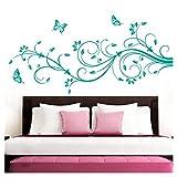 Grandora Wandtattoo XXL Blumenranken Schmetterlinge Blumen I türkis (BxH) 90 x 39 cm I Schlafzimmer Liebe Flur Wohnzimmer modern Aufkleber Wandaufkleber W1073