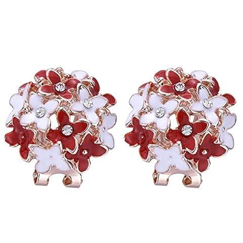 XZQ-Heiße Mode Frauen Mädchen Vergoldet Flower Cluster Crystal Ohrclip Ohrstecker, Rot