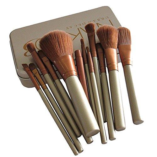drasawee 12 pièces paquet Color Brosse Cosmétique Maquillage Fard à paupières Lèvres Sourcils le café en fibre de teint poudre Pinceau Eyeliner outil