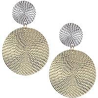 FEIDAjdzf Mujeres Exagerado Geométrico Circular Colgante Concave Convex Pendientes Joyería – Oro