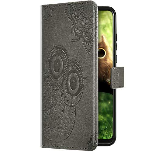 Uposao Kompatibel mit Samsung Galaxy A40 Handyhülle 3D Eule Mandala Blumen Muster Schutzhülle Lederhülle Leder Tasche Klapphülle Wallet Flip Case Cover Magnet Stand Kartenfächer,Grau