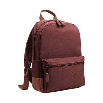 Bagbase Mini Student Backpack / Rucksack Bag (6.5 Litres) (One Size) (Burgundy/Tan)
