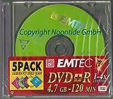 Emtec 5er Pack DVD+R 4.7GB 120Min 1-4x Rainbow color Slim Case Rohlinge