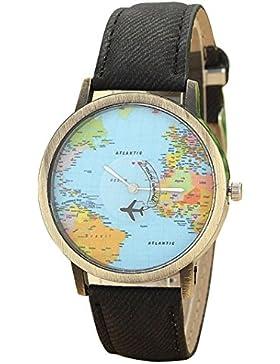 FEITONG Damenuhr Kleiden Uhr Global Travel Mit dem Flugzeug Karte Muster Denim-Gewebe-Band Armbanduhr Schwarz