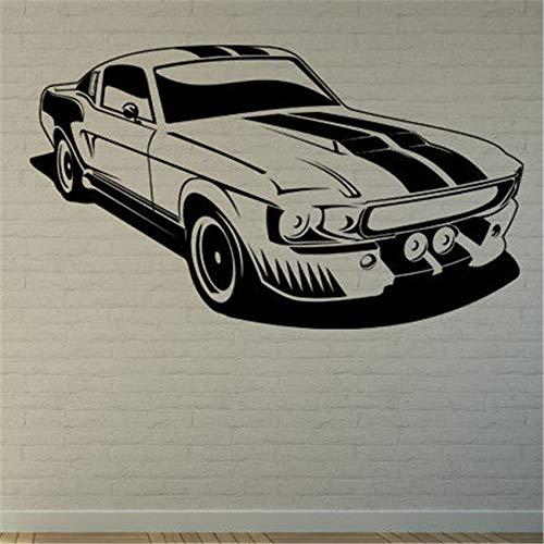 Geiqianjiumai Muscle Car Art Wandaufkleber Aufkleber Zitate Abziehbilder Wohnaccessoires Wohnzimmer Dekoratives Wandbild schwarz 100 x 58cm