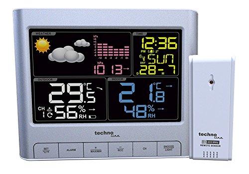 Technoline WS 6449 Wetterstation mit LED-Anzeige (Silber mit Batterien)