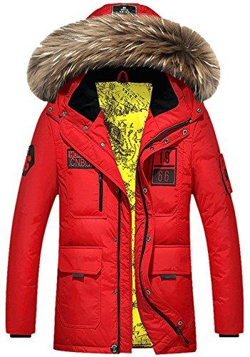 WS668 Winter Herren Warm Mäntel Mode Pelz Kragen Dicker Coat Mens Daunen Jacke Rot