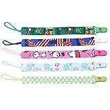 Gluckliy Schnullerband Baby Stoff Schnullerketten mit Clip für Jungs Mädchen, Kinder Geschenk (Himmelblau)