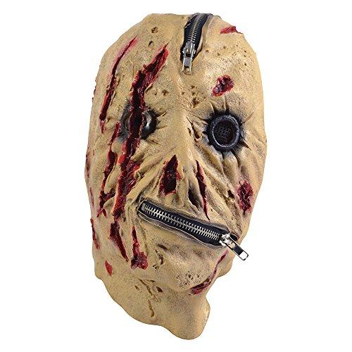Bristol Novelty BM440Reißverschluss Maske, eine Größe (Scary Gesicht Reißverschluss Halloween)