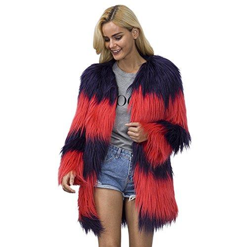 iBaste Elegante Giacca Sintetico Pelliccia Donna Medio-lungo Cappotto V-collo Colore Misto Giacchetta Pelo Lungo Rosso