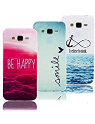 3 X Samsung Galaxy Grand Prime G530 Coque etui Case Cover,Vandot Samsung Galaxy Grand Prime G530 TPU Silicone Couleur motif Coquille Housse Ultra-mince thin slim light Resistance Chute Hull- Rouge nuage+Smile+Refuse