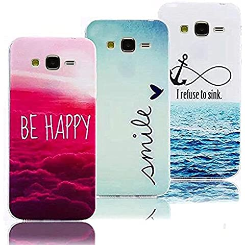 3 X Samsung Galaxy Grand Prime G530 Case Cover in Silicone, Vandot Ultra Sottile Dipinto Pattern Cover di TPU Morbida Flessibile Protettiva Copertina Custodia - Be Happy/ Smile/ I Refuse