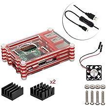 4 en 1 kit profesional para Raspberry Pi 3 & Raspberry Pi Modelo B 2, negras en rodajas 9 Capas caja de la caja de refrigeración + cable USB Mini Fan + Micro con giro / encendido, fresco (rojo)