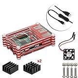 4 en 1 Kit Professionnel Pour Raspberry Pi 3 & 2 B B+, Tranchés 9 Couches Cas Box + Ventilateur + Micro Câble usb à tour / l'interrupteur, ailette de refroidissement [Raspberry Pi est pas inclus] (Rouge)