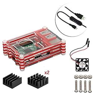 4 in 1 Set Raspberry Pi 3 Kit Case ventola alluminio dissipatore di calore interruttore Cable (Rosso)