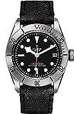 Tudor patrimonio nero Baia 41mm mens orologio su cinturino in pelle nero invecchiato 79730–0003