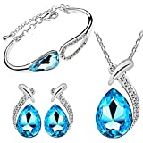 Cyan Angel Teardrop crystal pendant set ...