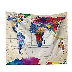 Dwayne C Tapestry Watercolor World map Wall Hanging Tapestry Nature Home Decorations for Living Room Bedroom Dorm Decor Art Bed Sheet Beach Cloth (150 * 102CM) (Colorful 1)