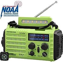 NOAA Notfall Radio, KurbelRadio Solarradio Wetterradio für Wandern und Draussen, mit AM/FM/SW, 2000mAh Wiederaufladbare Batterie, SOS Alarm, USB-Ladeanschluss, LED Taschenlampe, Lesen Lampe, Kompass