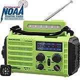 Notfall NOAA Wetter Radio SOS KurbelRadio Handyladegerät Solarradio für Wandern und Draussen, mit AM/FM/SW, 2000mAh Wiederaufladbare Batterie, USB-Ladeanschluss, LED Taschenlampe,Lesen Lampe,Kompass