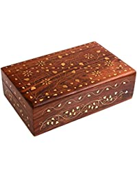 hand crafted wooden decorative trinket jewelry box organiser with mughal inspired floral carvings brass inlay - Decorative Wooden Boxes