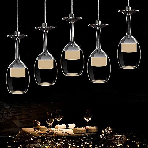 KJLARS Moderne Hängelampe Glaslampe mit 5 Weinglas Pendelleuchte Acyle Glasschirm Pendellampe...