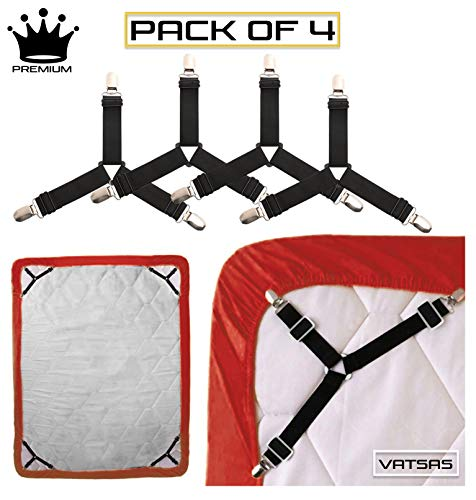 Vatsas Bedsheet Gripper Holder Clips Pack of 4 - Adjustable Long Lasting Elastic Bed Sheet Organizer Suspender Tucker Straps Combo for King Size, Queen Size, Single and Double Beds (Black)