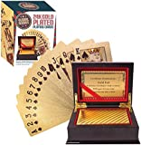 Global Gizmos 51320 Certificated Real Gold Plated Playing Cards in Presentation Box