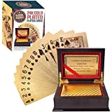 Global Gizmos - 51320Juego de cartas con certificación de enchapado en oro real en caja de presentación.