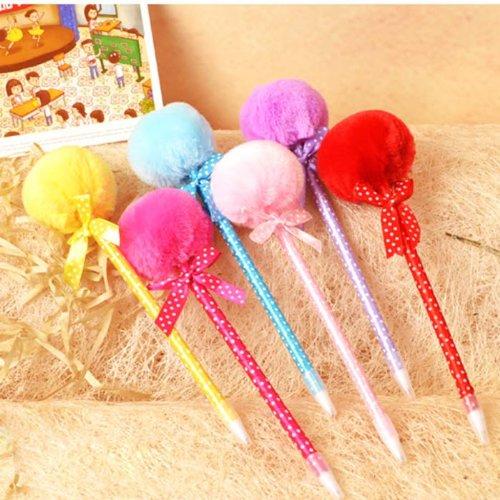 Preisvergleich Produktbild 5Stk.Plüsch Ball weich Magie Schreiben Kugelschreiber fr Schule Princess Kinder(Packung mit 5: zufällige Farbe)