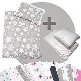 Rawstyle 4 tlg. Set Bezug (STARS) für Kinderwagen Bettwäsche Decke + Kissen + Füllung (Design 5)