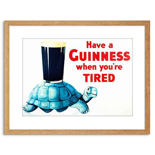 The Art Stop AD Drink Alcohol Irish Stout ALE Tortoise Blue Shell Glass Framed Print F97X2208