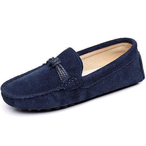 Unisex Rismart - Mulheres Adultas Homens Camurça Super Confortáveis, De Couro Genuíno Sapatos Baixos Mocassim Sapatos Marineblau1