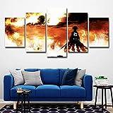 Bvc Wandkunst Dekor 5 Stücke Angriff auf Titan Drucke auf Leinwand für Haupthintergrund-Kunst-Dekor-Geschenke,A,25x38x2+25x50x2+25x63x1