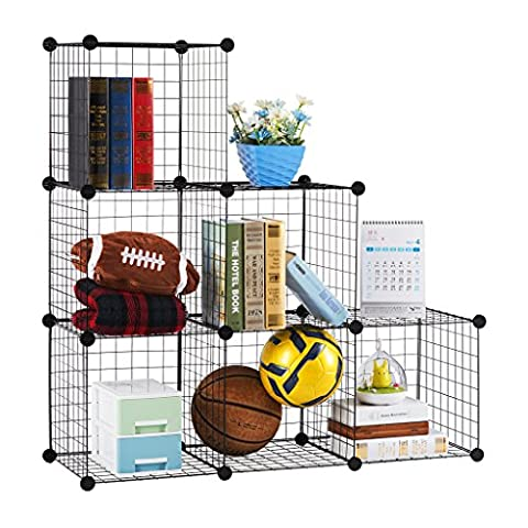 LANGRIA 6-Cube DIY Wire Grid Bookcase, Multi-Use Modular Storage Shelving Rack, Open Organiser Closet Cabinet for Books, Toys, Clothes, Tools, Max Capacity 20kg per Cube,