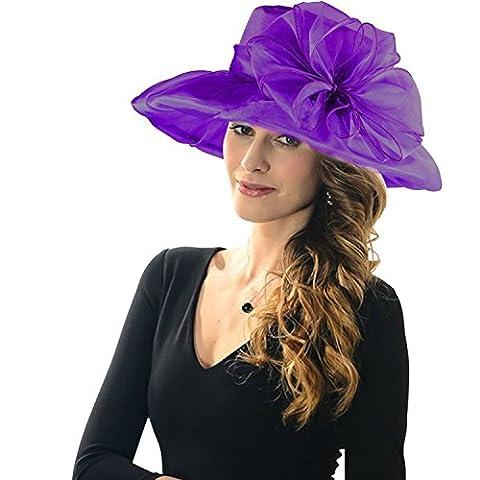 KLASAS*Women's Sun hat - Organza Fleurs télévision Grand Large Bord de la gaze Kentucky Derby Cap - pliage de l'été soleil hat Pour Eglise Kentucky Derby Mariage Voyage Plage