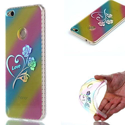 Pour Huawei P8 Lite 2017 Case Cover, Ecoway TPU Soft Motif de placage en couleur personalized pattern Housse en silicone Housse de protection Housse pour téléphone portable pour Huawei P8 Lite 2017 - Rose