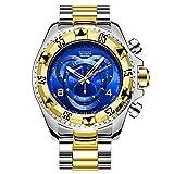 Reloj de Cuarzo de los Hombres Reloj de Moda Reloj Impermeable Pulsera de Acero Inoxidable Reloj Luminoso Ventana de Calendario Marca de Lujo Reloj de Negocios,C