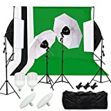 ♦AKTIONSPREIS♦ Desty Hintergrundsystem Hintergrund Fotostudio Set Komplett Foto LED Studioleuchte 4st. Stoffe Background System 2 Softbox Set 2 Fotoschirm Set 2 Tasche