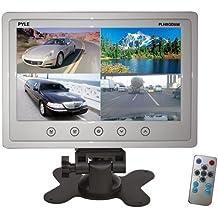 Pyle PLHRQD9W - Monitor quadrato TFT/LCD da 9 pollici, con poggiatesta e connettori RCA, colore: Bianco