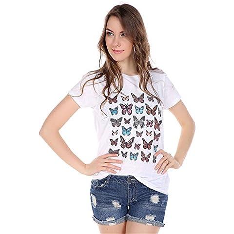 Fashion Farfalla T-shirt Tee Maglietta Top Cima Con Graphic Grafica Scritta Motivo Logo Slogan Stampa Bianco