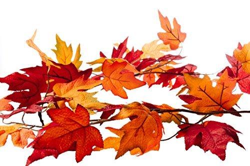 CraftMore Fall Maple Leaf Garland-6Füße-Farben Bereich von Dark Red Hues zu Vibrant Orange-Perfekte Dekoration Fall -